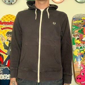 Fred Perry hooded zip up sweatshirt black medium